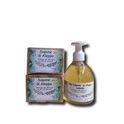 OFFERTA SAPONE D'ALEPPO 20%: sapone d'Aleppo liquido 250ml. + 2 pezzi sapone d'Aleppo solido 200gr.